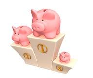 3d piggy banks on a pedestal Stock Photos