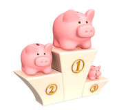 3d piggy banks on a pedestal Royalty Free Stock Image