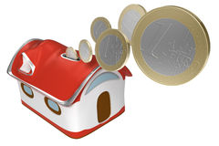 3d Piggybank house with euro coins isolated icon. Euro coins falling into a piggy-bank house isolated Royalty Free Stock Photo