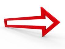 3d pijl rode manier Stock Afbeelding