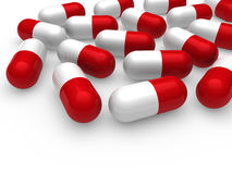 3d pill red white Stock Images