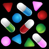 3D Pills. A collection of 3D pills Stock Image