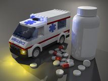 3d pills and small ambulance. On gray background Royalty Free Stock Photos