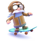 3d Pilot on a skateboard Stock Photo