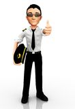 3D pilot with thumbs up Royalty Free Stock Photography