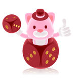 3d pink cat showing in the red dice Stock Photography