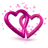 3d pink connected hearts,  Stock Images