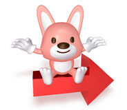 3d pink cute rabbit sitting on the red arrow Royalty Free Stock Image