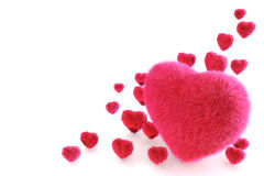 3D Pink Fur Hearts. Isolated on white Stock Photography