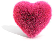 3D Pink Furred Heart. Isolated on white Royalty Free Stock Images