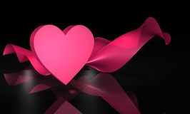 3D Pink Heart and Fabric on Black Royalty Free Stock Photos