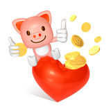 3d pink pig sitting Royalty Free Stock Photos