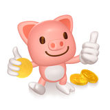 3d pink pig standing Stock Photography