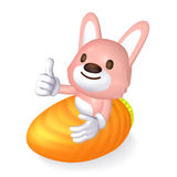 3d pink rabbit riding Stock Photo