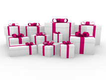 3d pink white gift box Royalty Free Stock Photos