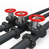 3d pipe system and oil valve Stock Photos