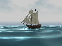 3D Pirate ship on Ocean Stock Photography