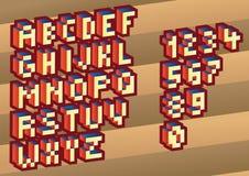 3D Pixel alphabet Stock Images