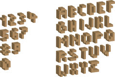 3D Pixel alphabet and numbers. Illustration Stock Photo