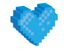 3D Pixel blue heart Royalty Free Stock Images