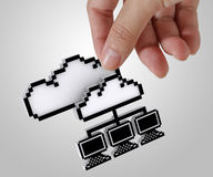 3d pixel cloud network royalty free stock photo