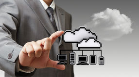 3d pixel cloud network icon Royalty Free Stock Photo