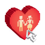 3D pixel heart. Isolated illustration Royalty Free Stock Photos