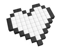 3d pixel heart. Love concept. 3d pixel heart on a white background Royalty Free Stock Photo