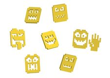 3D Pixel smilies Royalty Free Stock Photo