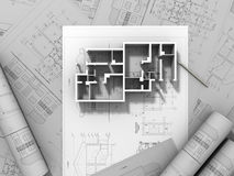 3D plan drawing. On a white background Royalty Free Stock Images