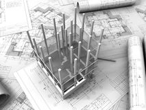 3D plan drawing. On a blueprint background Stock Image