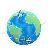 3d planes flying around the globe royalty free illustration