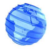 3D Planet glassy Earth focused in Africa. Blue Earth globe with glassy parallel lines with Africa view on white background vector illustration