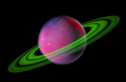 3D Planet With Rings Isolated On Black Background Royalty Free Stock Photos