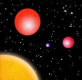 3D Planeten in Ruimte Stock Afbeelding