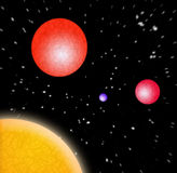 3D Planets In Space. A 3d illustration of some planets in outer space Stock Image