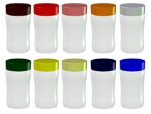 3D of Plastic Cosmetics Containers. 10 Color Choices of Plastic Containers cutout on a white background and open to receive any label or title of your choice Royalty Free Stock Photos