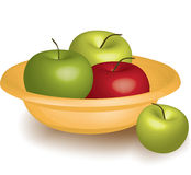 3D plate with apples. 3D plate with red and green apples Stock Photo