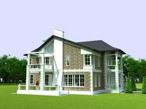 3D plattelandshuisje Stock Foto