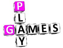 3D Play Games Crossword Royalty Free Stock Images