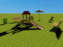 3d playground. 3d view of a playground Royalty Free Stock Photography