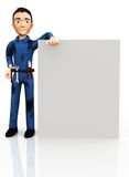3D plumber with a banner Royalty Free Stock Photography