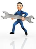3D plumber with a wrench Stock Photography