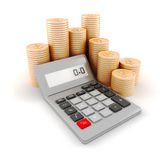 3d pocket calculator and coins Stock Photos