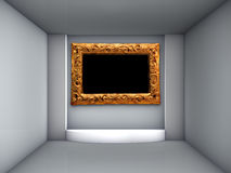 3d podium and ornate frame for exhibit Royalty Free Stock Images