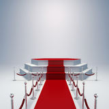 3d podium and red carpet. On blue background Stock Photos
