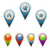 3D Pointers. Set 3D Map Pointers with Icons - Home, People, Favorite, . Easily Change the Color Stock Photo