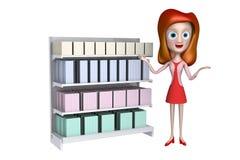 3d pokazu prezenta dziewczyny półki pozycja Zdjęcia Stock