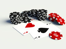 3D poker chips with playing cards. On white table Stock Image