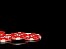 3d poker chips with reflection. Computer generated red poker chips with reflections Royalty Free Stock Image